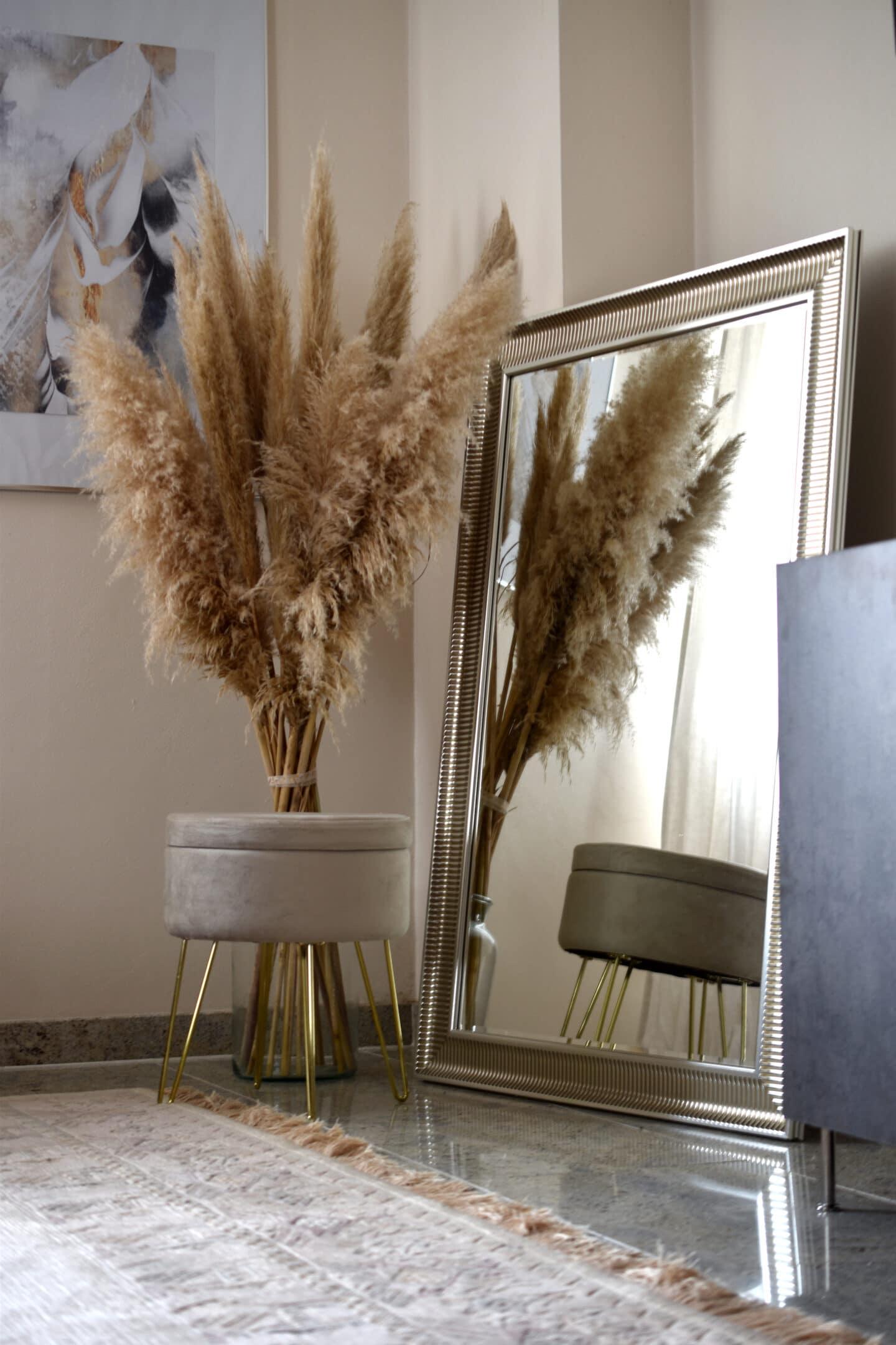 Pampagras, Samt und Art Deco Spiegel