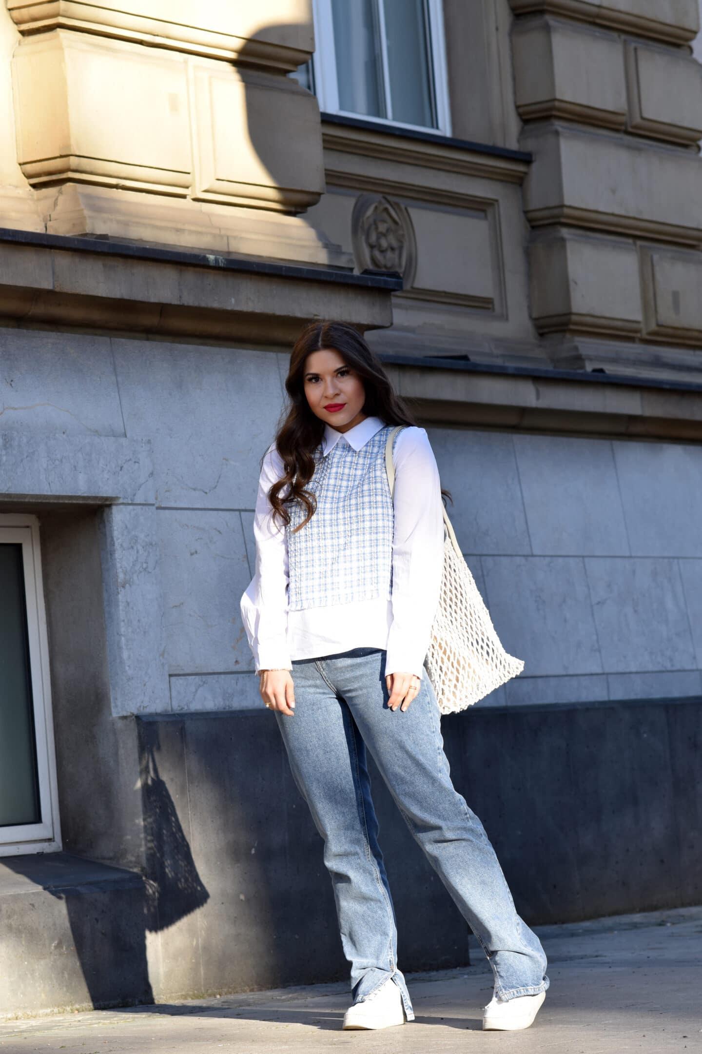 Wide Leg Jeans mit Bubi Kragen