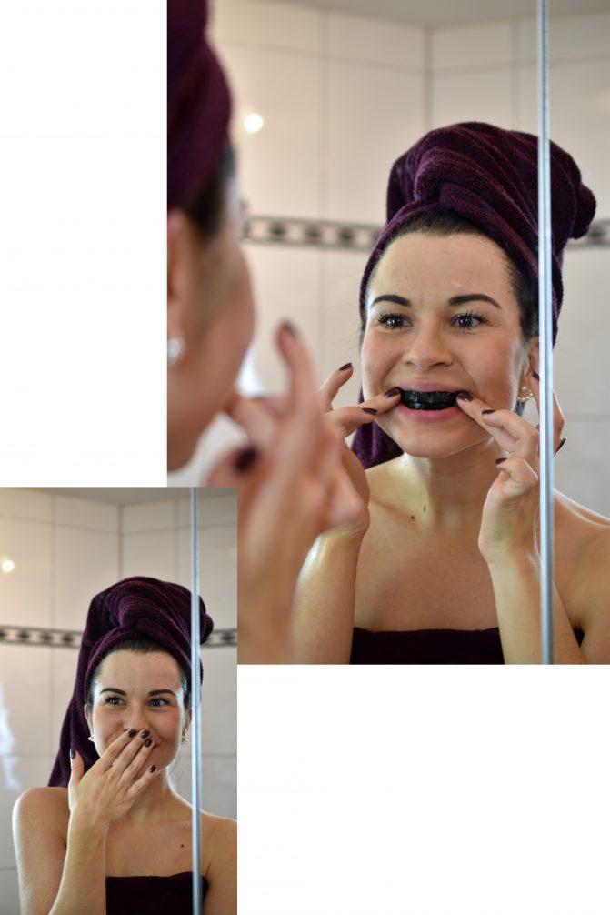 Anwendung Smile Secret Coco Stripes Zahnaufhellungsstreifen