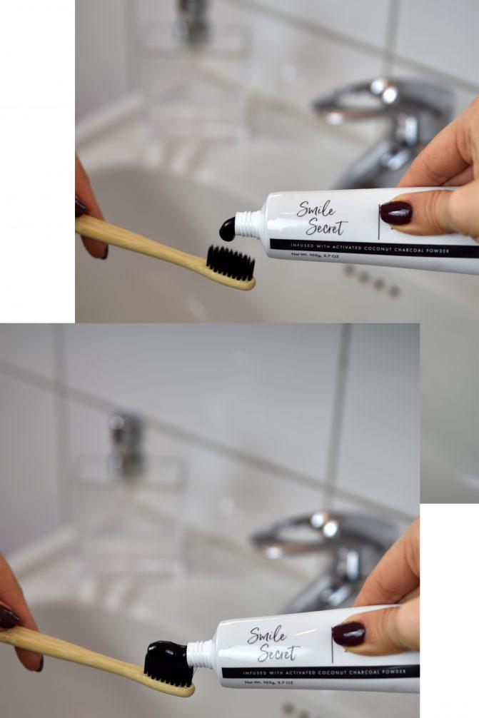 Anwendung Smile Secret Zahnpasta